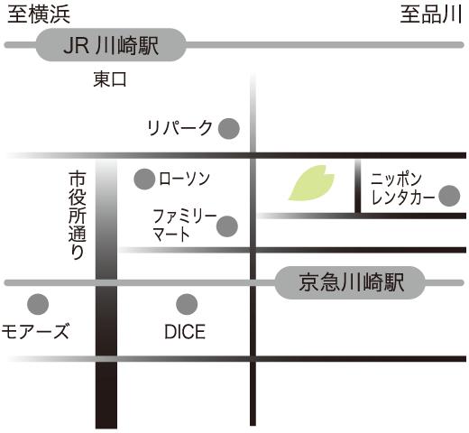 川崎駅周辺、さくらこまちまでの地図イラスト